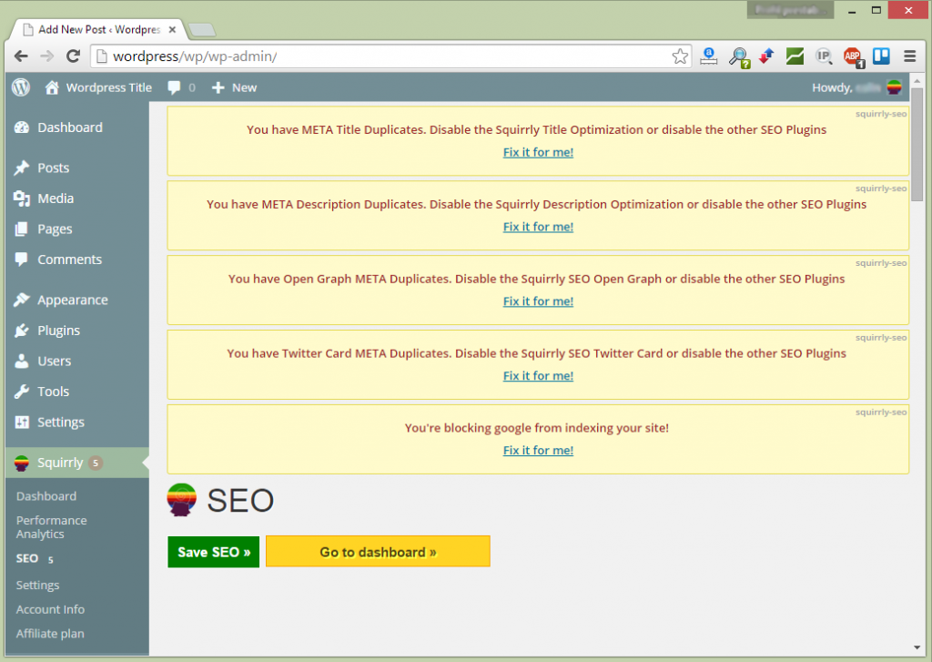 Squirrly Check for SEO errors