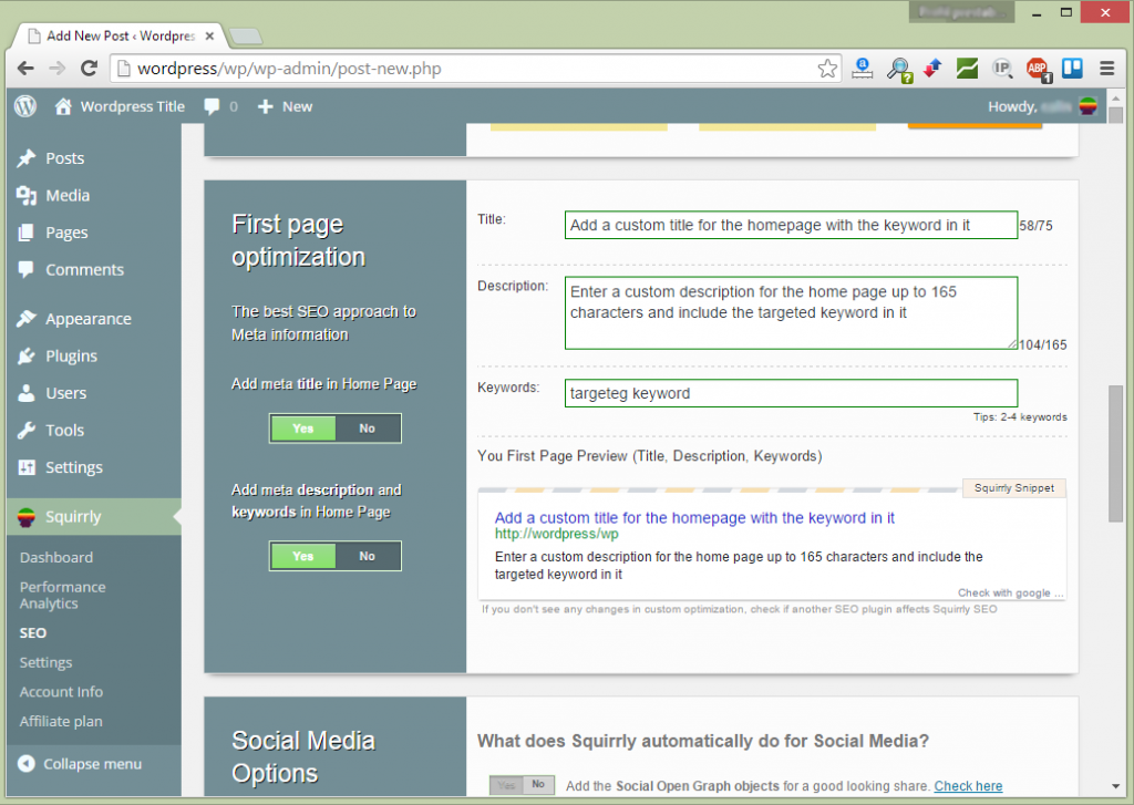 Squirrly First Page Optimization