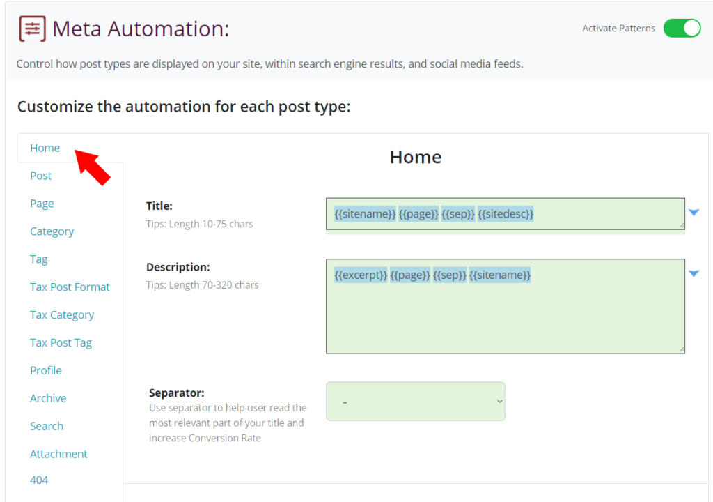 Edit Home Page Automation