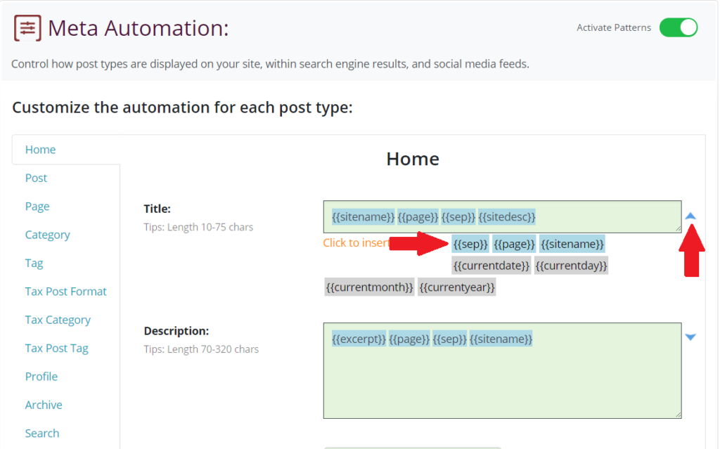 Edit Patterns in SEO Automation