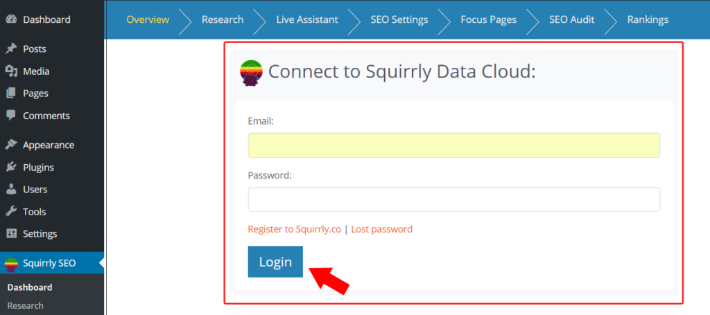 Login WordPress to Squirrly Cloud