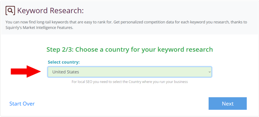Keyword Research Select Country
